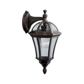 1563 Capri 1 Light Outdoor & Garden Wall Light Rustic Brown Bevelled Glass IP44 Rated