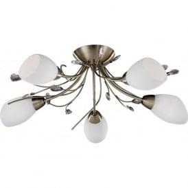 1765-5AB Gardenia 5 Light Semi-Flush Ceiling Light Antique Brass