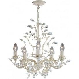 2495-5CR Almandite 5 Light Ceiling Light Cream Gold
