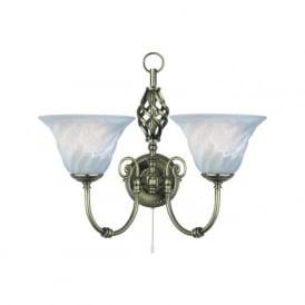972-2 Cameroon 2 Light Wall Light Antique Brass