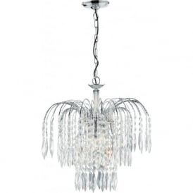 4173-3 Waterfall 3 Light Ceiling Pendant Polished Chrome