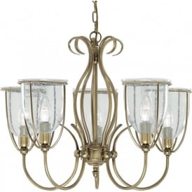 6355-5AB Silhouette 5 Light Ceiling Light Antique Brass