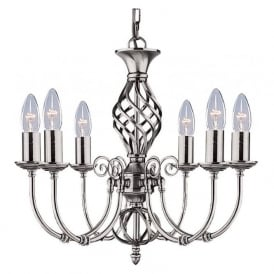 4489-6 Zanzibar 6 Light Ceiling Light Satin Silver