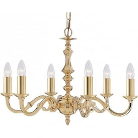 2176-6NG Seville 6 Light Ceiling Light Polished Solid Polished Brass