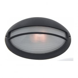 5544BK Outdoor And Porch 1 Light Traditional Outdoor Wall Light IP54 Rated Ridged Oval Glass Diffuser Cast aluminium matt black finish