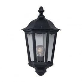 82505BK Alex 1 Light Traditional Outdoor Lantern Wall Light IP44 Rated Cast Aluminium Alchromated Black Finish