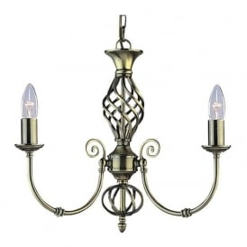 8393-3 Zanzibar 3 Light Ceiling Light Antique Brass
