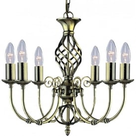 8396-6 Zanzibar 6 Light Ceiling Light Antique Brass