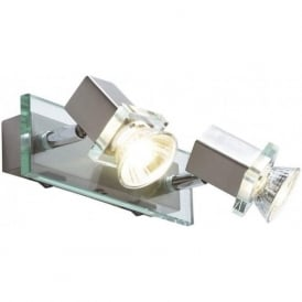 Spirit 2 Light Switched Wall Spotlight Satin Chrome