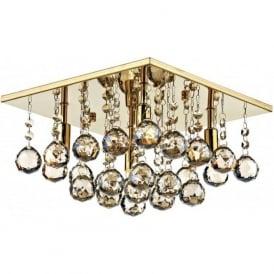 ABA5240 Abacus 4 Light Crystal Flush Ceiling Light Gold