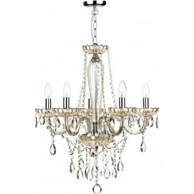 RAP0506 Raphael 5 Light Ceiling Chandelier Champagne Glass