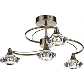 LUT0475 Luther 4 Light Crystal Ceiling Light Antique Brass