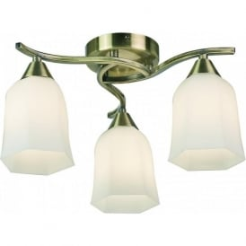 96973-AB Alonso 3 Light Ceiling Light Antique Brass