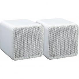 Audio4 OCE4W White 4 inch Full Range 80 watt Dual Cone Mini Box Speakers Pair
