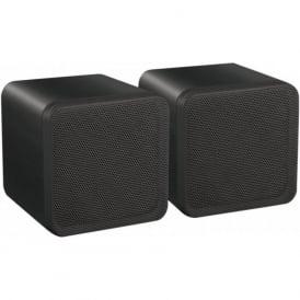 Audio4 OCE4B Black 4 inch Full Range 80 watt Dual Cone Mini Box Speakers Pair