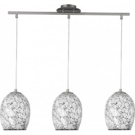 8069-3WH Crackle 3 Light Ceiling Pendant Polished Chrome