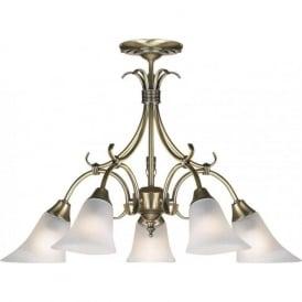 144-5AN Hardwick 5 Light Ceiling Light Antique Brass