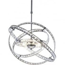 ETE2350 Eternity 10 Light Crystal Ceiling Pendant Polished Chrome