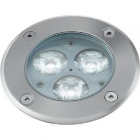 2505WH 3 Light LED Walk Over Light Brushed Chrome IP67