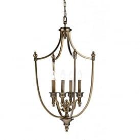 LOM0475 Lombard 4 Light Solid Brass Lantern Pendant Antique Brass