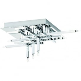 3711-11CC Lattice 11 Light Semi Flush Ceiling Light Polished Chrome