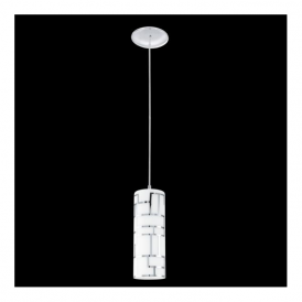 92562 Bayman 1 light Pendant Chrome Decorated White Shade