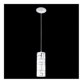 92562 Bayman 1 light Pendant Chrome Decorated White Shade