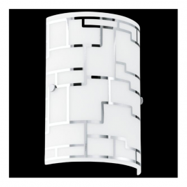 92564 Bayman 1 Light Wall Light Chrome Decorated White Shade