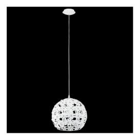 92283 Hanifa 1 Light Pendant White Steel Clear Beads