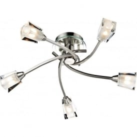 AUS0546 Austin 5 Light Semi-Flush Ceiling Light Satin Chrome