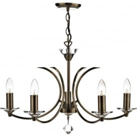 MED0575 Medusa 5 Light Ceiling Light Antique Brass
