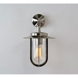 0484 Montparnasse 1 Light IP44  Outdoor Wall Light Polished Nickel