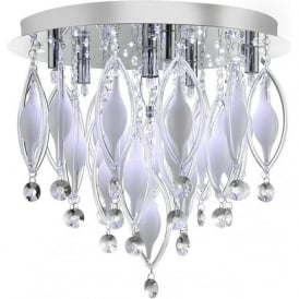 2456-6CC Spindle 6 Light Semi-flush Ceiling Light Polished Chrome
