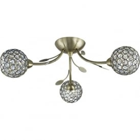 6573-3AB Bellis II 3 Light Semi-flush Ceiling Light Antique Brass