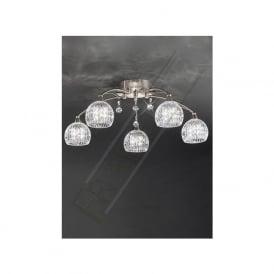 FL2295/5 Jura 5 Light Ceiling Light Satin Nickel