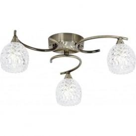 Endon BOYER-3AB Boyer 3 Light Ceiling Light Antique Brass