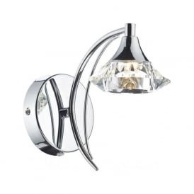 LUT0750 Luther 1 Light Crystal Wall Light Polished Chrome Switched