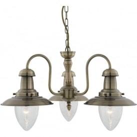 5333-3AB Fisherman 3 Light Ceiling Light Antique Brass