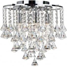 3494-4CC Dorchester 4 Light Crystal Ceiling Light Polished Chrome
