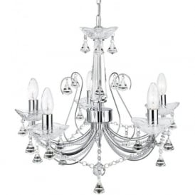 1395-5CC Lafayette 5 Light Crystal Chandelier Polished Chrome