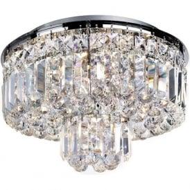 7755-5CC Vesuvius 5 Light Crystal Semi-flush Ceiling Light Polished Chrome