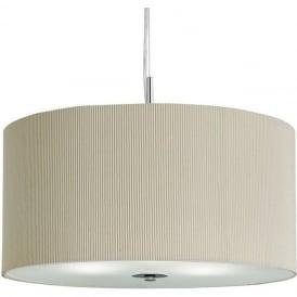 2356-60CR Drum Pleat 3 Light Ceiling Pendant Cream