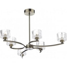 LAG0675 Laguna 6 Light Semi-Flush Ceiling Light Antique Brass