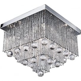 6055-5CC Beatrix 5 Light Semi-flush Crystal Ceiling Light Polished Chrome