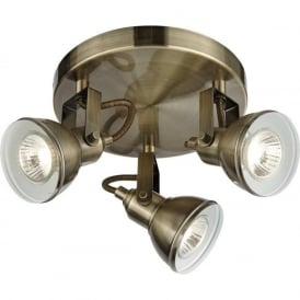1543AB Focus 3 Light Ceiling Spotlight Antique Brass