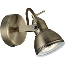 1541AB Focus 1 Light Wall Spotlight Antique Brass