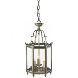 MOO0375 Moorgate 3 Light Ceiling Lantern Antique Brass