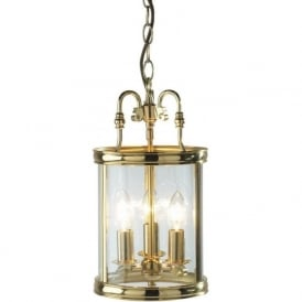 LAM0340 Lambeth 3 Light Ceiling Lantern Polished Brass