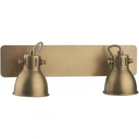 IDA7775 Idaho 2 Light Switched Wall Spotlight Natural Brass