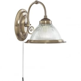 9341-1 American Diner 1 Light Wall Light Antique Brass